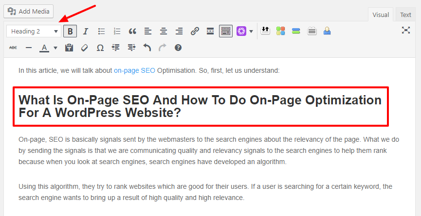 How To Do On-Page Optimization For A WordPress Website- H1 and H2 tags