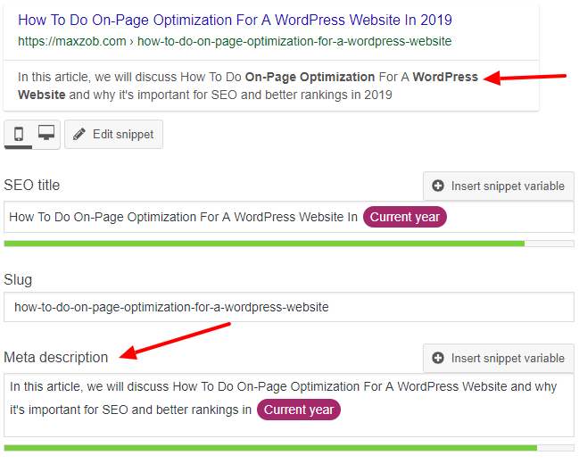 How To Do On-Page Optimization For A WordPress Website- Meta Description