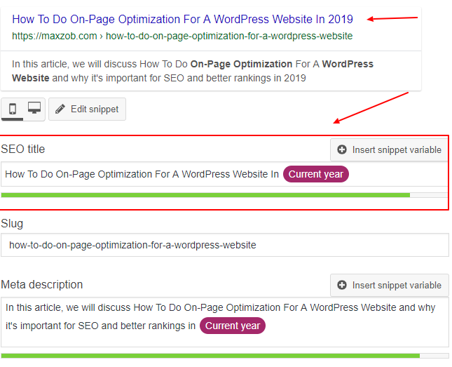 How To Do On-Page Optimization For A WordPress Website- Title